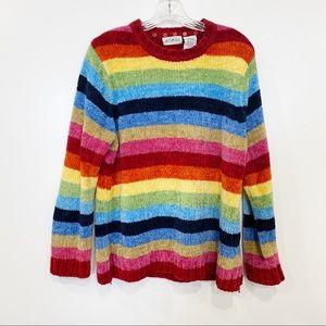 Vintage White Stag rainbow stripe chenille sweater